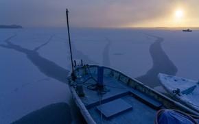 Picture winter, sunrise, dawn, ship, ice, morning, Japan, Japan, frozen lake, Озеро Огавара, Lake Ogawara