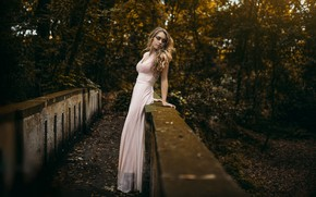 Picture autumn, girl, bridge, pose, figure, dress, beautiful, Natasha, Nicholas David Furnari