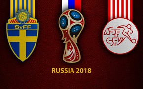 Picture wallpaper, sport, logo, football, FIFA World Cup, Russia 2018, Sweden vs Switzerland