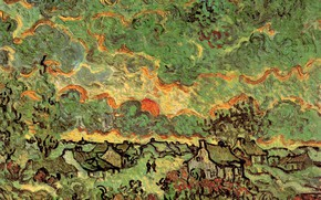 Picture Vincent van Gogh, Saint Remy, Reminiscence of the North, Cottages and Cypresses