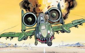 Picture figure, humor, pilot, attack, runway, USAF, Republic, A-10 Thunderbolt II, warthog, aerodom
