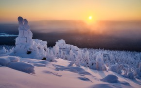 Picture winter, the sun, snow, trees, landscape, mountains, nature, morning, ate, Сергей Межин