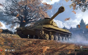 Picture WoT, World of Tanks, Is-3, Wargaming, game art, autumn art