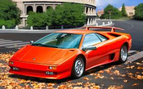 Picture Colosseum, Italy, Supercar, Lamborghini Diablo VT