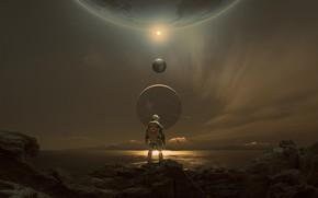 Picture fantasy, science fiction, mountains, sci-fi, planets, digital art, artwork, futuristic, space suit, solar system, Astronaut