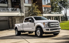 Picture the building, Ford, facade, pickup, 4x4, 2018, 440 HP, Super Duty, F-450, Limited, V8, 6.7 …