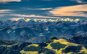 Picture forest, the sky, clouds, mountains, blue, rocks, tops, view, height, dal