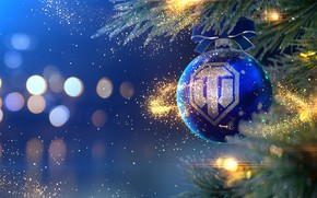 Picture holiday, the game, Christmas, New year, Tanks, World of Tanks, Ёлочный шар