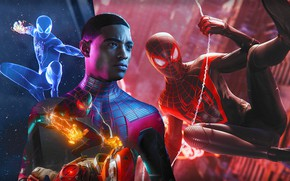 Picture collage, guy, Spider-Man, Miles Morales, Marvel's Spider-Man: Miles Morales