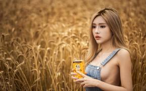 Picture girl, Model, field, photo, lips, blonde, asian, wheat, necklace, portrait, mouth, no bra, sideboob, lipstick, …
