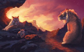 Picture animals, cats, sunset, mountains, prehistoric animals