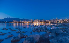 Wallpaper sea, the sky, landscape, mountains, lights, stones, coast, home, the evening, Canada, Bay, Vancouver