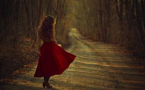 Picture autumn, girl, hair, skirt, blouse, Monica Lazar