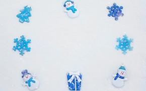Picture winter, snow, snowflakes, box, gift, toys, blue, Christmas, white background, New year, snowmen, snowman, snowfall, …
