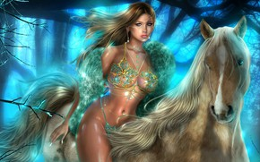 Picture girl, face, rendering, model, hair, horse, figure, blonde