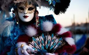 Picture earrings, mask, fan, costume, carnival, carnival mask