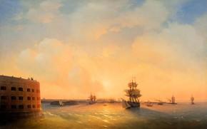 Picture ship, picture, sail, seascape, 1844, Ivan Aivazovsky, Kronstadt. Fort Emperor Alexander 1