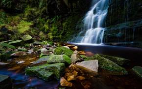 Picture the dark background, stones, rocks, waterfall, stream