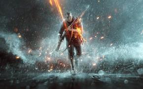 Picture weapons, rain, soldiers, runs, Battlefield 1