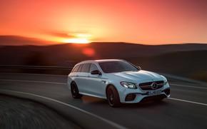 Picture sunset, Mercedes-Benz, AMG, universal, E63, Estate, 4MATIC, 2017, E63 S