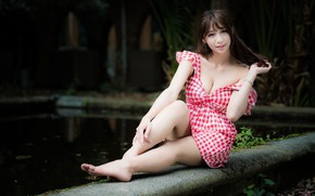 Picture sexy, pose, smile, pond, model, makeup, garden, figure, dress, hairstyle, brown hair, legs, Asian, sitting, …