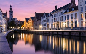 Picture the city, building, home, the evening, lighting, lights, channel, Belgium, the bridge, Bruges