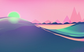 Picture Sunset, The sun, Minimalism, Star, Style, Background, Style, Illustration, Synth, Retrowave, Synthwave, Futuresynth