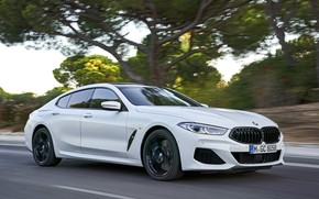Picture road, white, trees, coupe, BMW, Gran Coupe, 840i, 8-Series, 2019, the four-door coupe, Eight, G16