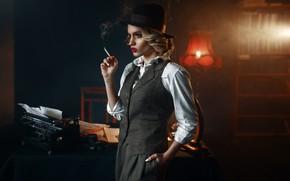 Picture hat, cigarette, machine, detective, creation