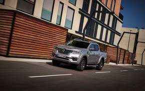 Picture road, the building, Renault, pickup, 4x4, 2017, Alaskan, gray-silver