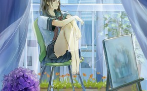 Picture wet, barefoot, curtains, schoolgirl, in the room, on the chair, hydrangea, easel, window, transparent fabric, …