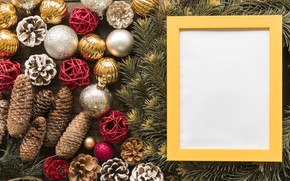Picture decoration, balls, frame, New Year, Christmas, Christmas, balls, wood, New Year, decoration, frame, Merry, fir …
