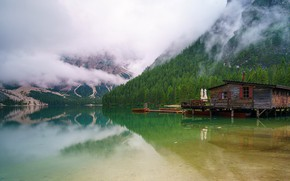 Picture forest, clouds, mountains, fog, comfort, lake, house, reflection, shore, the slopes, silence, hut, boats, couples, …
