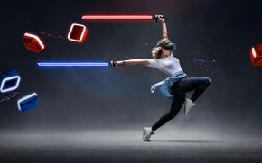 Picture girl, dance, lightsaber, virtual reality, VR, Beat Saber