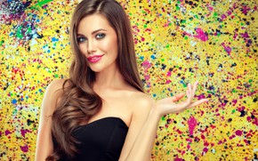 Picture look, pose, smile, background, portrait, makeup, dress, hairstyle, blonde, beauty, in black