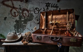 Picture table, hat, suitcase