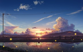 Picture road, clouds, sunset, fireflies, hills, posts, wire, silence, Japan, birds, the reflection in the water, …