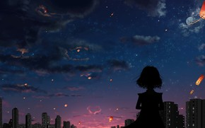 Picture clouds, sunset, the city, the evening, silhouette, girl, heart