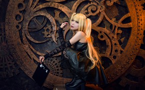 Picture look, girl, face, pose, style, black, boots, makeup, dress, costume, gear, outfit, book, image, Asian, …