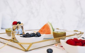 Picture berries, Breakfast, watermelon, fruit, granola