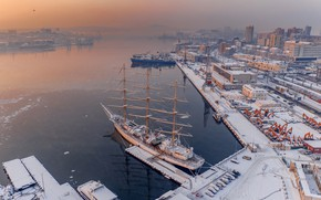 Picture winter, sailboat, ships, Bay, port, Russia, Vladivostok, Anton Blokhin, Бухта Золотой Рог
