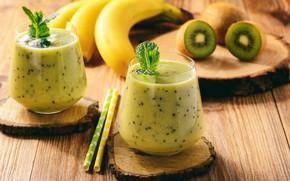 Picture kiwi, bananas, glasses, fruit, banana, wood, smoothies