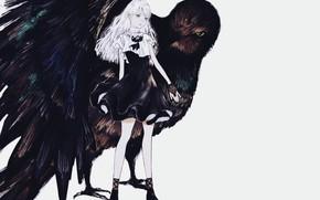 Picture girl, grey background, white hair, black dress, mitts, black Raven