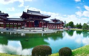Picture pond, Park, Japan, temple, Japan, Uji, Uji, The byodo-in temple, Byodo-in Temple, Pavilion Of The …