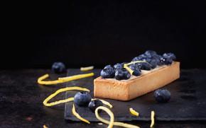 Picture blueberries, cake, cream, dessert, peel, Natasha Breen, lemon