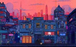 Picture Auto, The city, Robot, Robots, Style, Building, City, Fantasy, Architecture, Art, Style, Fiction, Cyber, Cyberpunk, …