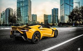Wallpaper Auto, Yellow, The city, Rendering, Supercar, Concept Art, Sports car, SuperSport, Transport & Vehicles, Benoit ...
