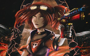 Picture skull, red, killer, the patch, Borderlands 2, in the dark, mercenary, cool, Gaige, super-weapons, chalker, …