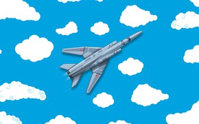 Picture Clouds, Minimalism, The plane, Fighter, Russia, Art, The view from the top, The Russian air …