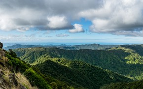 Picture forest, the sky, the sun, clouds, mountains, rocks, New Zealand, panorama